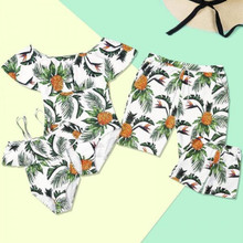 Pineapple Print Family Matching Swimwear Outfits Summer Mother and Daughter Bikini Set Father Son Beach Shorts