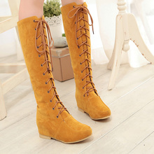 2014 Spring New Korean Flat Heel Lacing High Boots Matte Knee Boots Women's Boots Plus Size 34-43 XY179