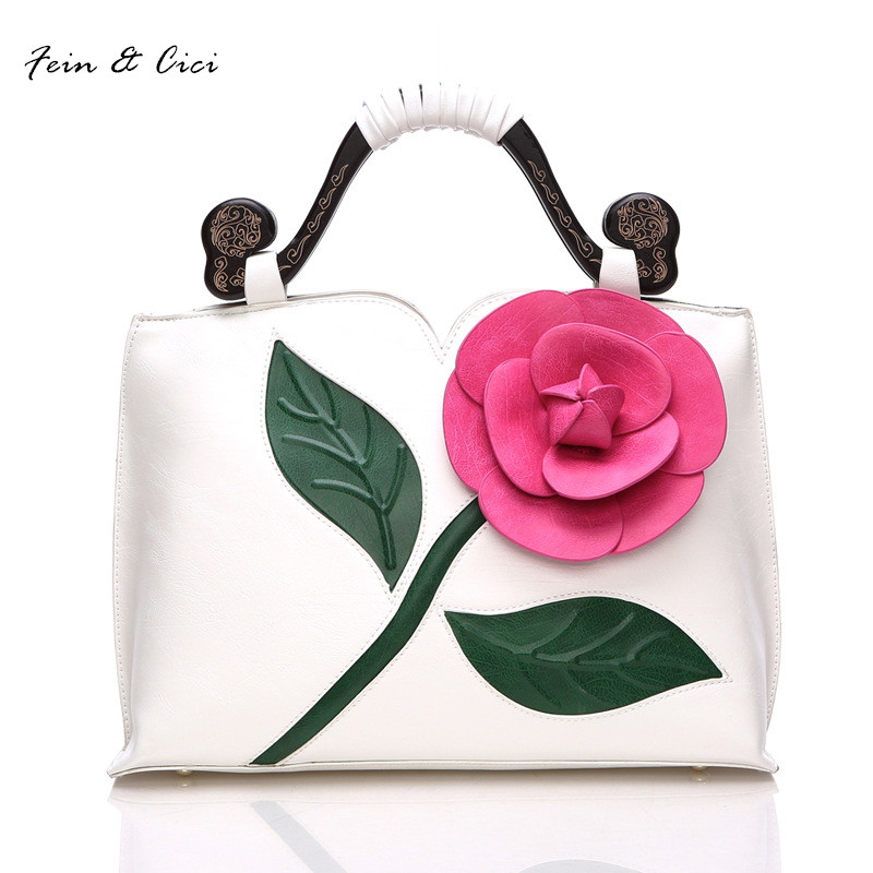 floral totes bag handbag lady women appliques flower bag autumn 2017 new large bag white green red purple black blue color silicone jigsaw pattern cover creative notebook red white green purple