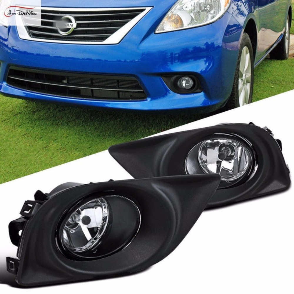 JanDeNing Car Fog Lights  For NISSAN SUNNY /ALMERA /VERSA 2012(U.S TYPE) Front Bumper Fog Lamp Replace Assembly kit(one Pair)