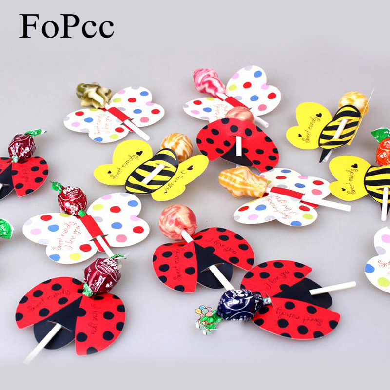 50PCS / sæt Cute Insect Bees Ladybug Butterfly Lollipop Decoration Card Fødselsdag Fest Wedding Decor Candy Stick Gaver til Kids