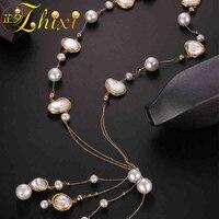 ZHIXI длинное жемчужное ожерелье Для женщин ювелирные украшения из барочного жемчуга Цепочки и ожерелья вечерние ювелирные изделия 2018 Свадеб