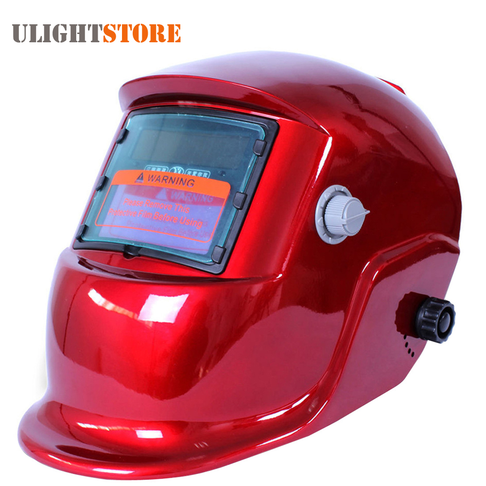 Red Solar Grinding Welding Helmet Auto Darkening Electric Welding Face Mask Welder Lens Cap Tools for ARC MIG TIG Stick Welding  rechangeable battery 4 arc sensor solar auto darkening shading grinding welding helmet welder goggles mask cap filter lens