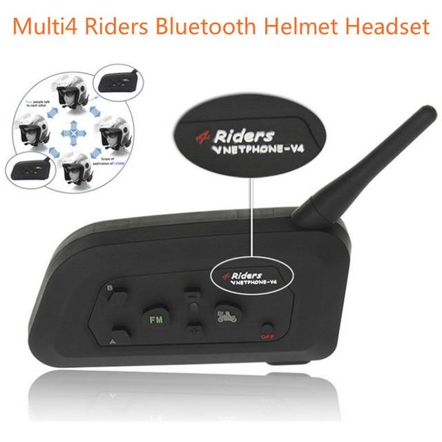 Multi4 Pilotos V4 Intercom1200M Auricular Bluetooth Casco de Moto Moto motocicleta Multi Interphone de BT interfono Inalámbrico