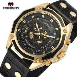 FORSINING Men's Automatic Self-wind Luxury Genuine Leather Strap Analog Skeleton Dial Trendy Whole Sale Watch FSG8164M3