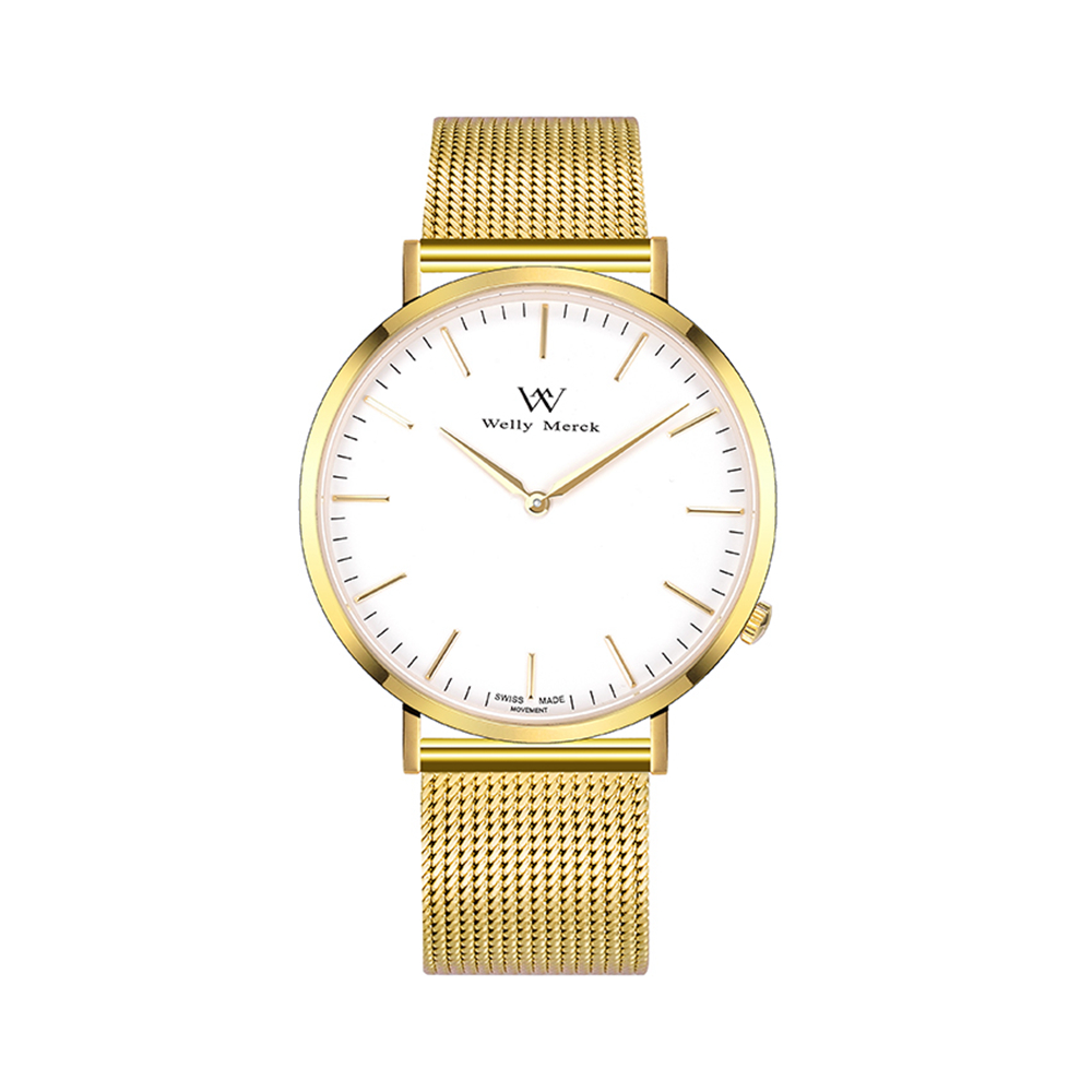 Welly Merck Gold Colors Stainless Steel Strap 30m Waterproof Women's Wristwatch Quartz Watch цена и фото