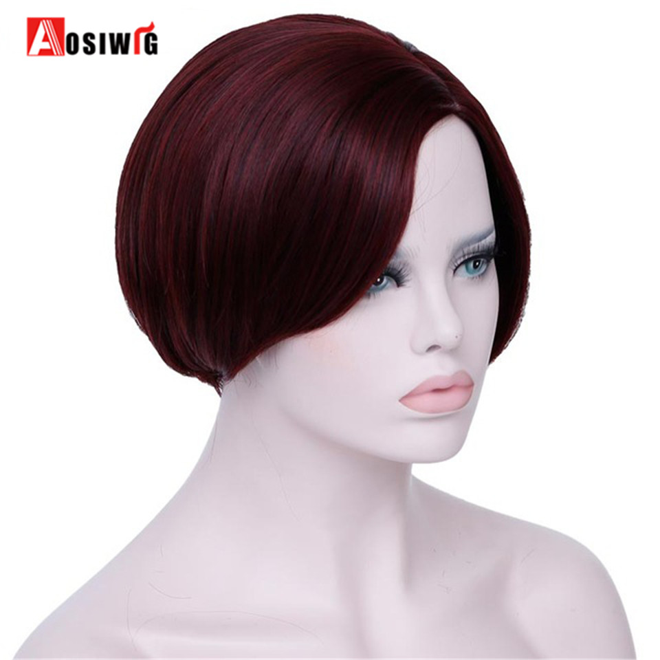 AOSIWIG Wine Red Short Pixie Cut Synthetic Wigs For Black Women With Side Bangs Natural Straight Heat Resistant Party Full Wig