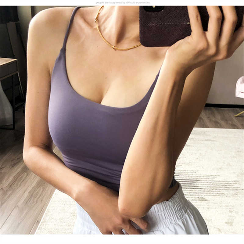 Oyoo Sleeveless padded crop top women slim fit pink yoga top sport gym tank tops cute shirts fitness clothing 9 colors