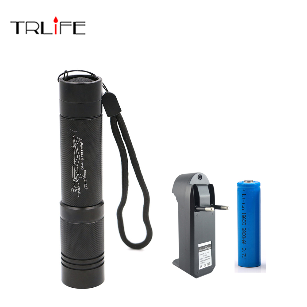 Diving Light 5000 LM CREE XML T6 LED Dive Flashlight Lamp Torch Underwater 100m Waterproof 18650 Battery Diver Torch