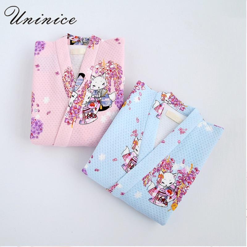 Japanese Yukata Robes Kimono Pajamas Sets Winter Warm Thickening Cotton Bathrobe Pyjamas Loose Style Sleepwear Leisure Lovers