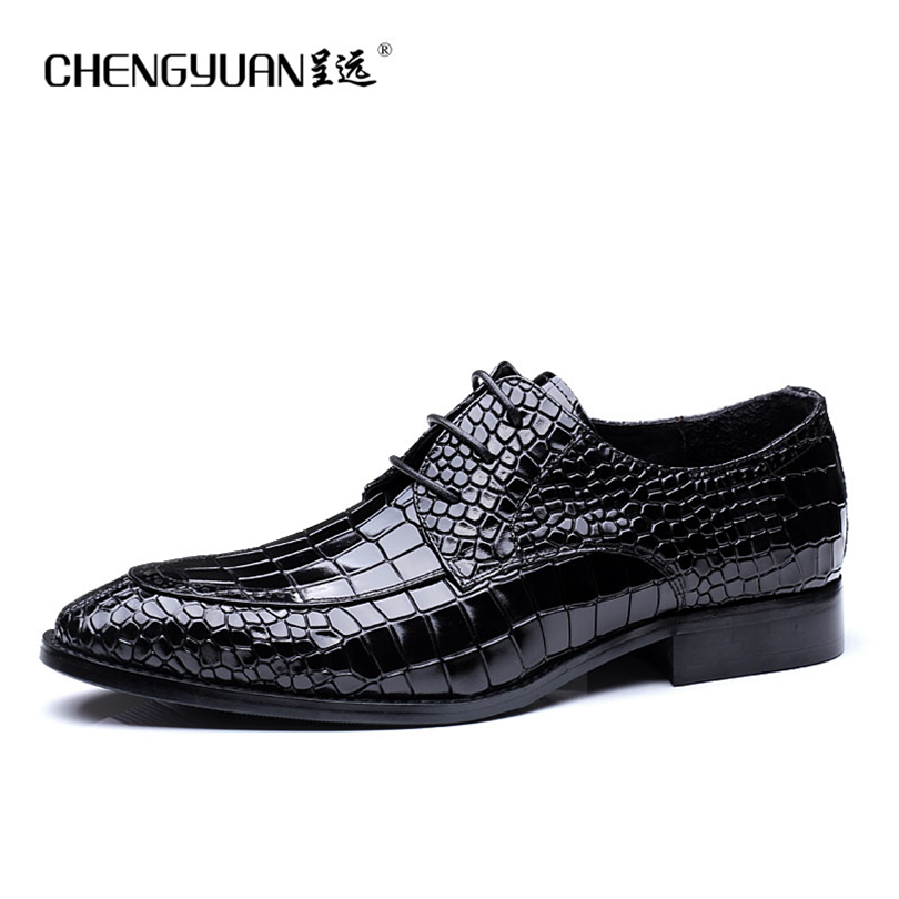 Men flats luxury business leather shoes Crocodile pattern wine red black lace up Dress Shoe men large size Wedding Shoes ST6810