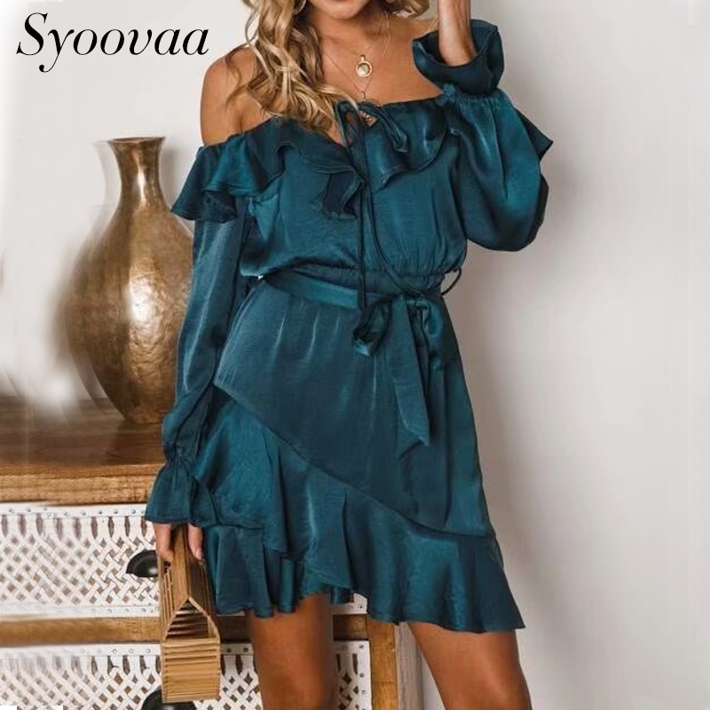 Syoovaa Ruffles Lace Up Off Shoulder Dress Women Bow Long Sleeve Vintage Elegant Dress Bow Blue Party Satin Dress Vestidos 2018