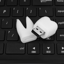 2017 Promotional Dentist gifts Gadget Funny Wisdom teeth shape U disk white pvc teeth usb flash drive