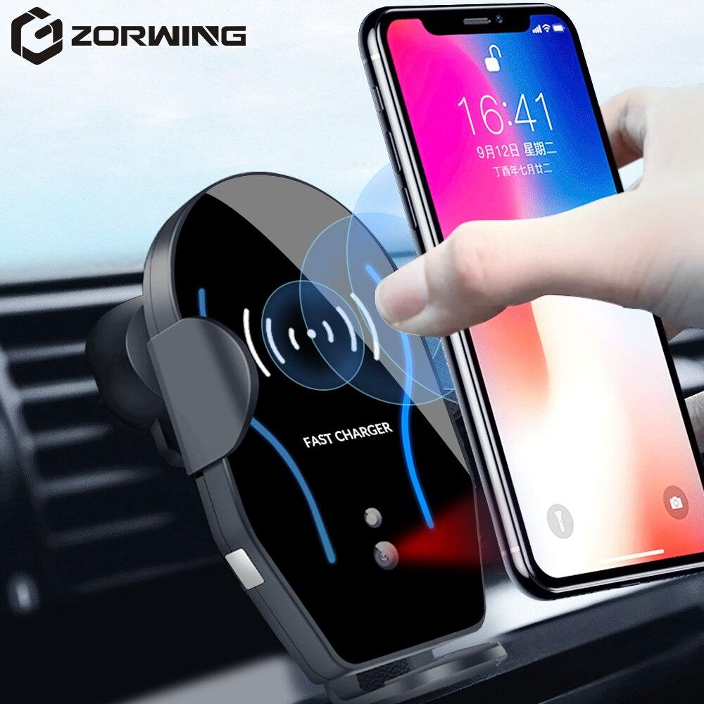 10 W Qi chargeur sans fil pour iPhone XR XS Max charge sans fil rapide pour Samsung S10 S9 capteur de proximité intelligent voiture support pour téléphone