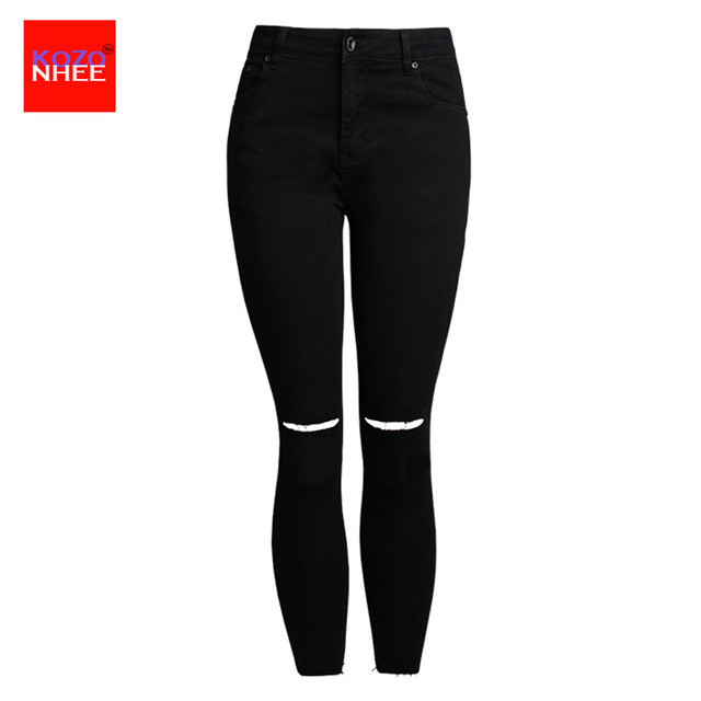 eb1f144be5b30 Plus tamaño estiramiento arrancó jeans negros para las mujeres ajustados  pantalones ajustados para mujeres