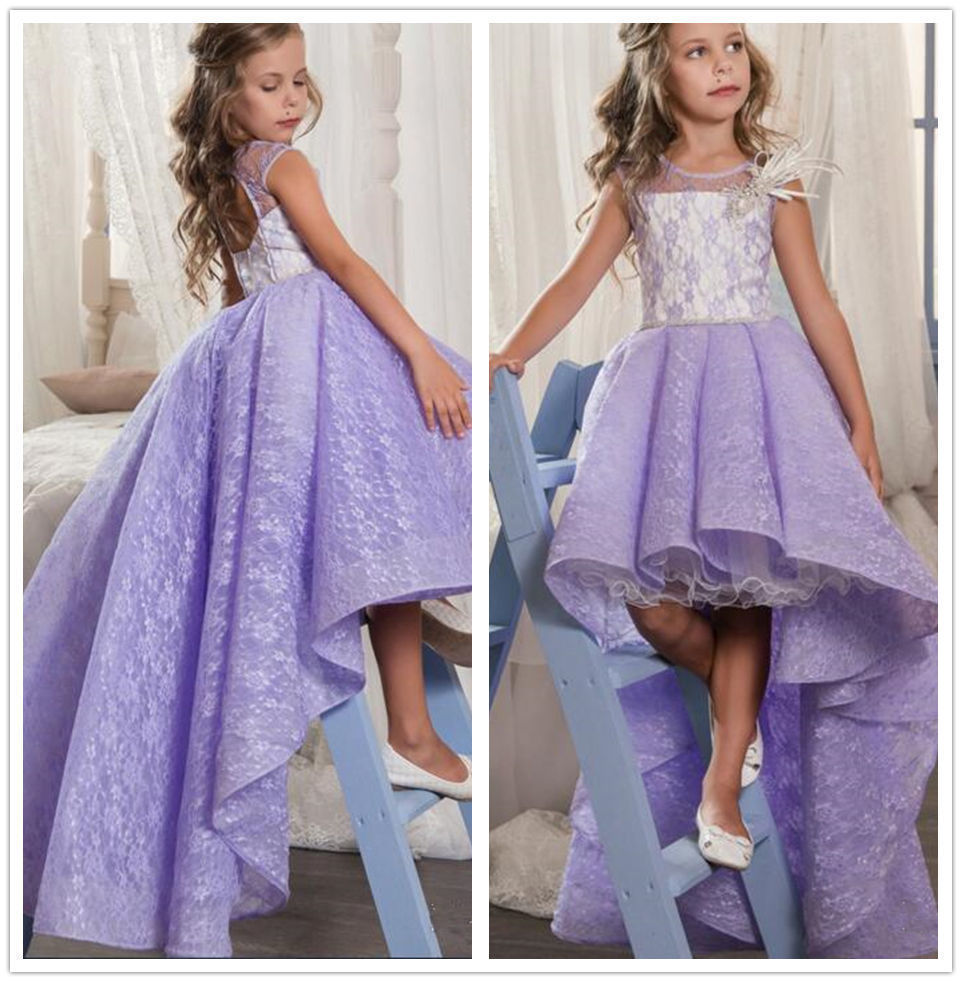 Sweet Purple Lace High Low Flower Girl Dress First Communion Pageant Gown Custom christmas dress sweet little girls white first communion dress lace sash crew neck ankle length flower girl dress pageant gown custom