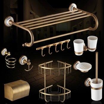 Antique Ceramic Carved Base Bathroom Accessories Sets Brushed Bathroom  Product Copper Bronze Bath Hardware Sets WV3