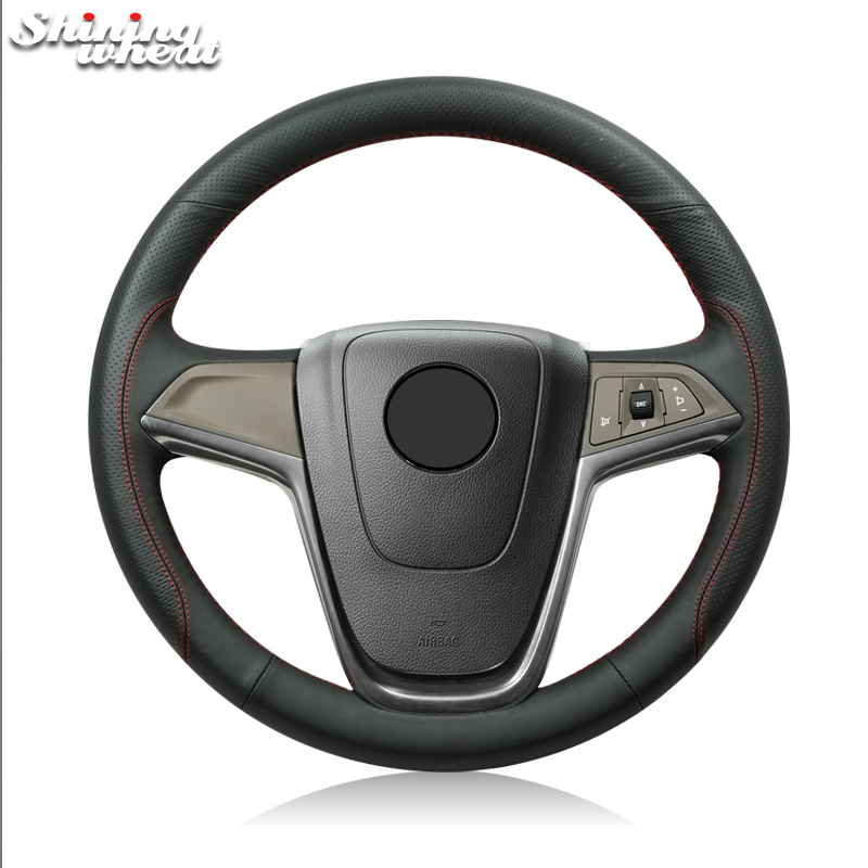 Shining wheat Black Genuine Leather Car Steering Wheel Cover for Buick Excelle XT GT Encore Opel Mokka цены онлайн