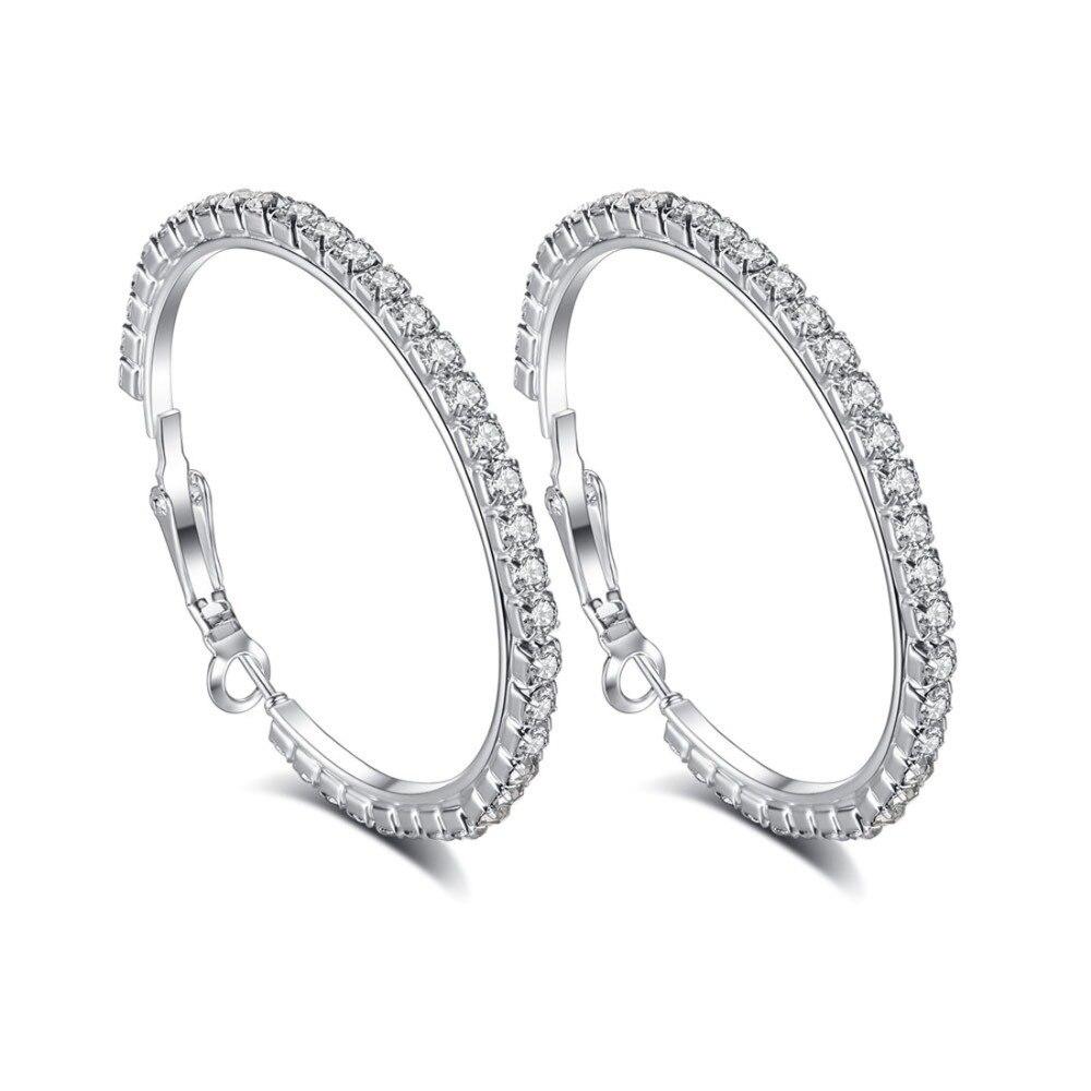 Gutherzig Großen Vogue Einfache Runde Weiß Zirkonia Silber Ohrringe Mode Frauen Schmuck Hoop Ohrringe Jahrestag Partei Engagement Reines Und Mildes Aroma Creolen