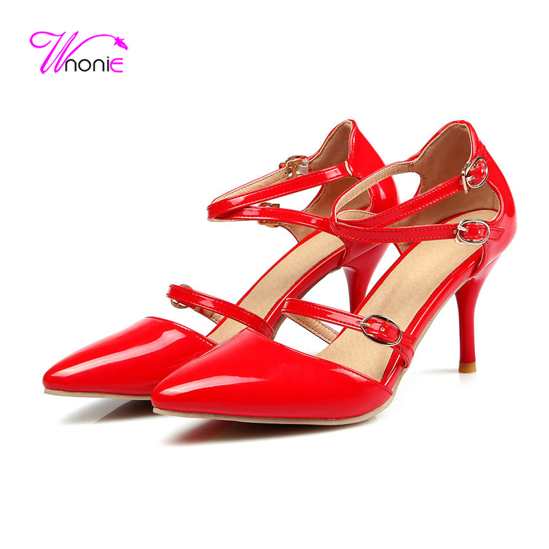 ФОТО 2017 New Fashion Women Sandals High Heels Spike PU Patent Leather Cross Strap Buckle Dress Party Sexy Summer Cool Ladies Shoes