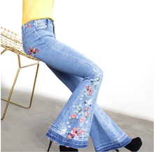 Denim Flare Pants Female Embroidered Trousers 2019 Womens Explosion Models Hot Wide Jeans