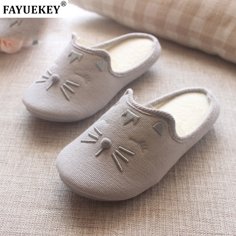 FAYUEKEY Cotton Slipper Flat-Shoes Animals Floor Autumn Winter Cartoon Women Indoor Warm