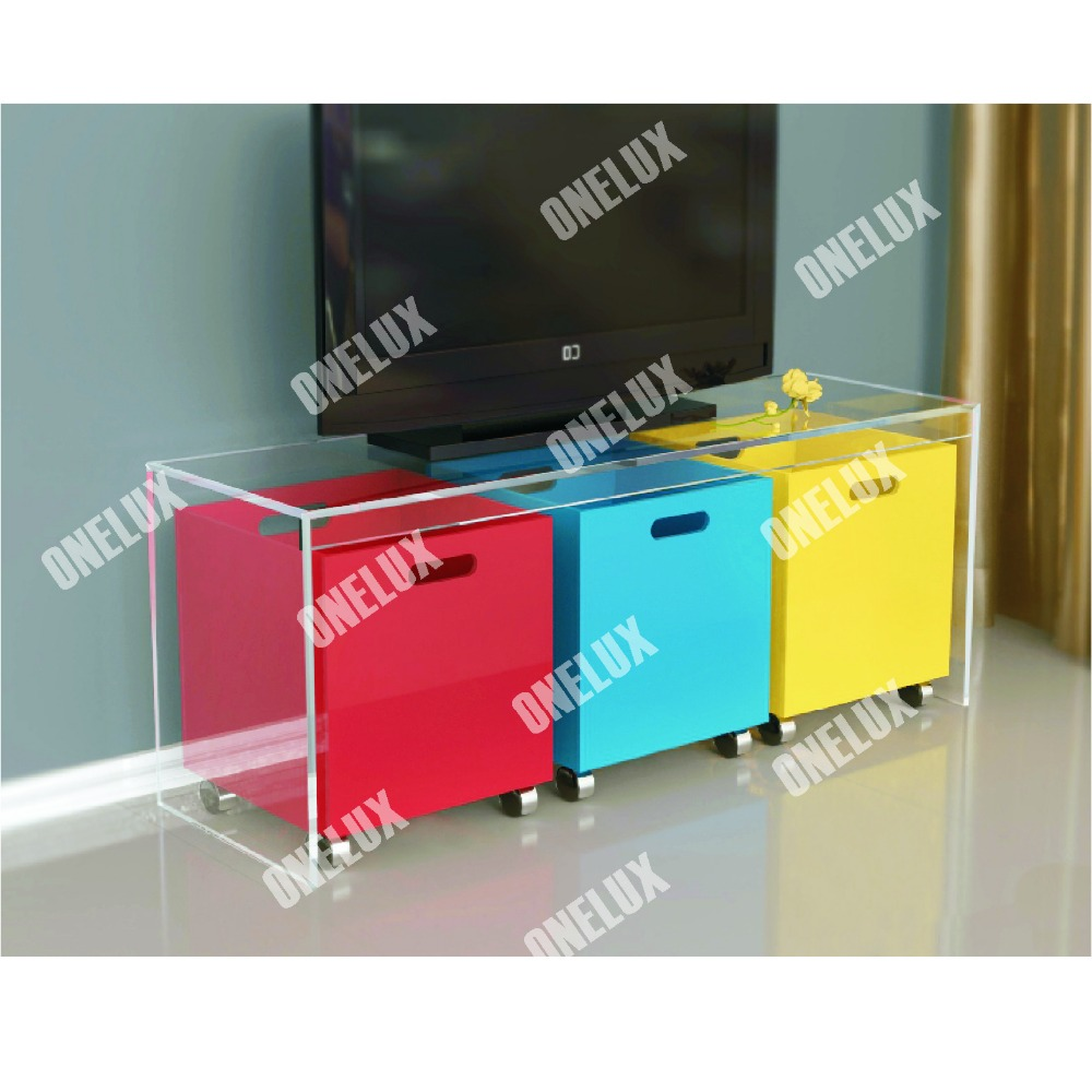 ONE LUX New Design Waterfall Acrylic Lucite TV Table / Stand with Storage Bins hot sale c shaped waterfall acrylic occasional side table