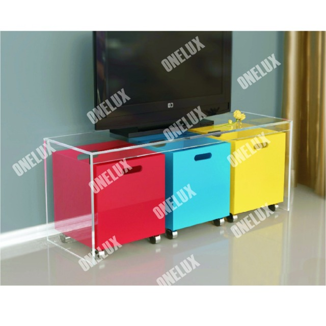 ONE LUX New Design Waterfall Acrylic Lucite TV Table / Stand With Storage  Bins