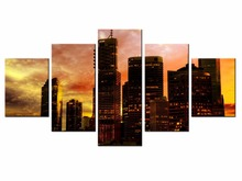 5 pieces / set of Beautiful city landscape wall art for decorating home Decorative painting on canvas Wholesale/XC-City-57