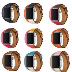 Браслет для iwatch Double Tour Натуральная кожа ремешок для Apple Watch ремень серии 4 herm браслет 40 мм 44 мм