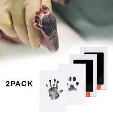 2PCS Non-Toxic Baby Handprint Footprint Imprint Kit Baby Souvenirs Casting Newborn Footprint Ink Pad Infant Clay Toy Gifts