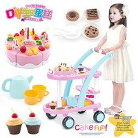 60PCS Baby Kitchen Toys Pretend Play Cutting Kids Children Trolley with Cake Play Food Gift