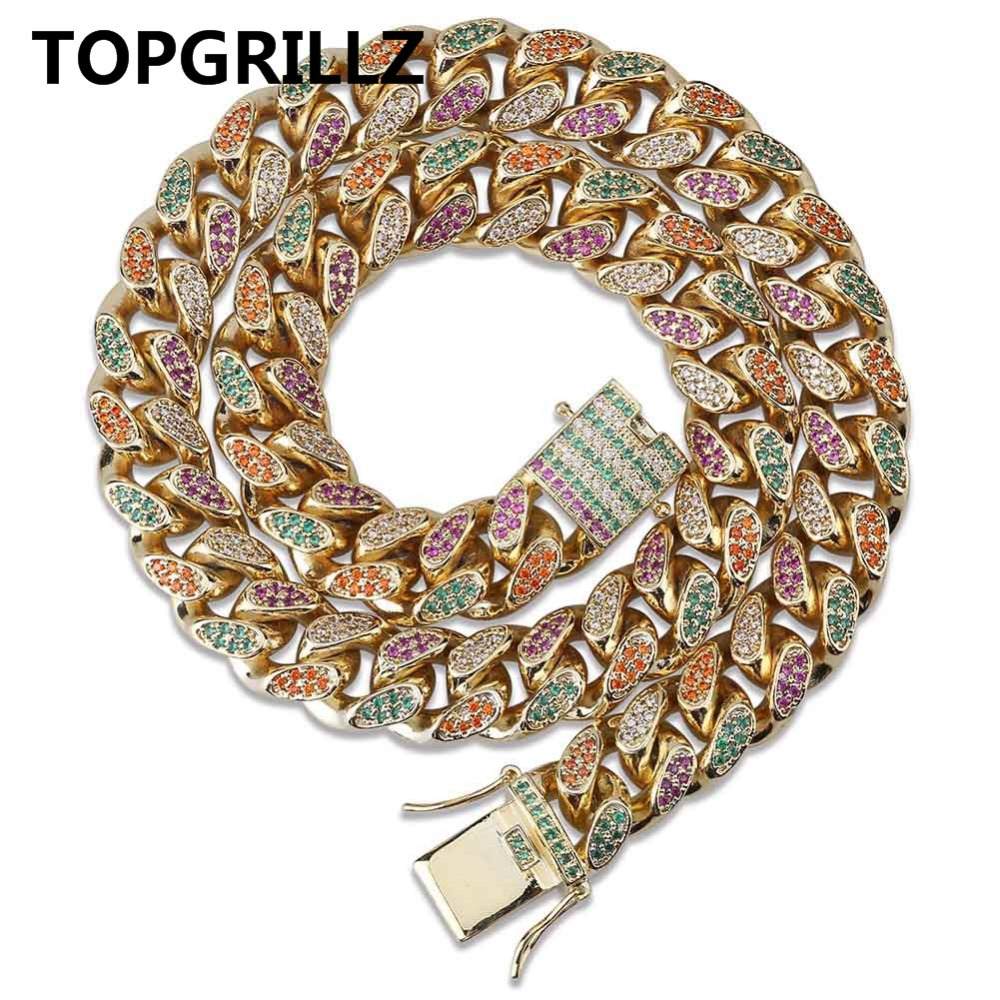 TOPGRILLZ 14mm Rainbow Colorful Iced Out Cuban Necklace Chain Men Gold Silver Color Hip Hop CZ