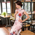 Super Quality Autumn New Chinese Cheongsam Dress Pink with Printing Flowers Daily Elegant Dress