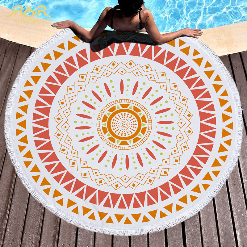 2017 Bohemian Mandala Round Beach Towel with Tassels Microfiber Women Summer Sandy Bath  ...