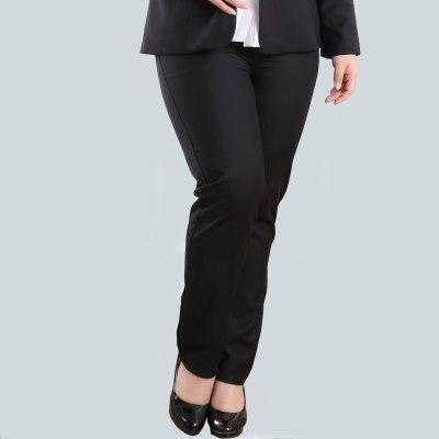 Women Formal Pants For OL Office Ladies Long Business Suit Straight Flat Zipper Pants Plus Big Size 10XL 42 44 Solid Black Grey