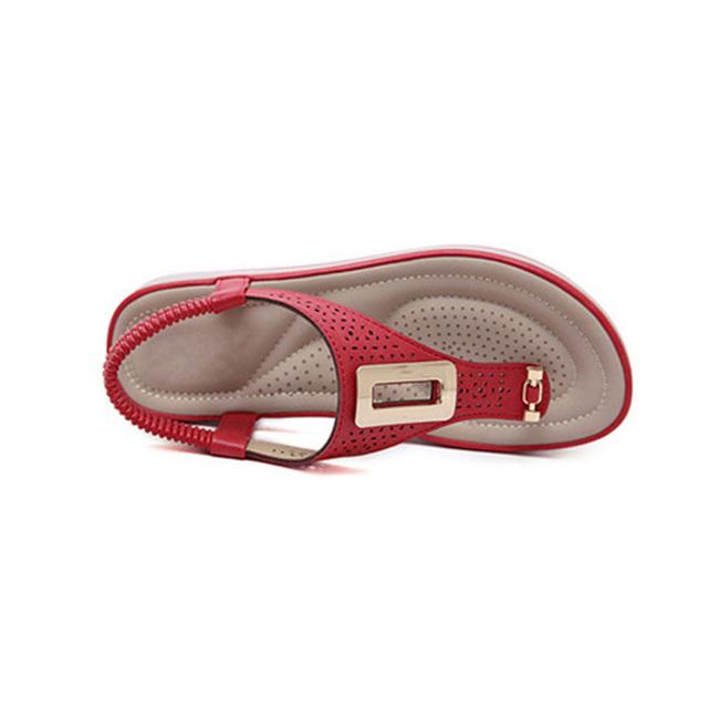Women's Soft Leather Platform Flip Flops