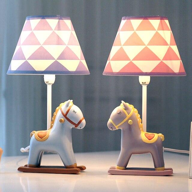 Nordic Cute LED lámpara de mesa Home Deco lamparas atenuación Pony mesa de escritorio luz dormitorio lámpara de noche para habitación de bebé niños regalo de Cumpleaños