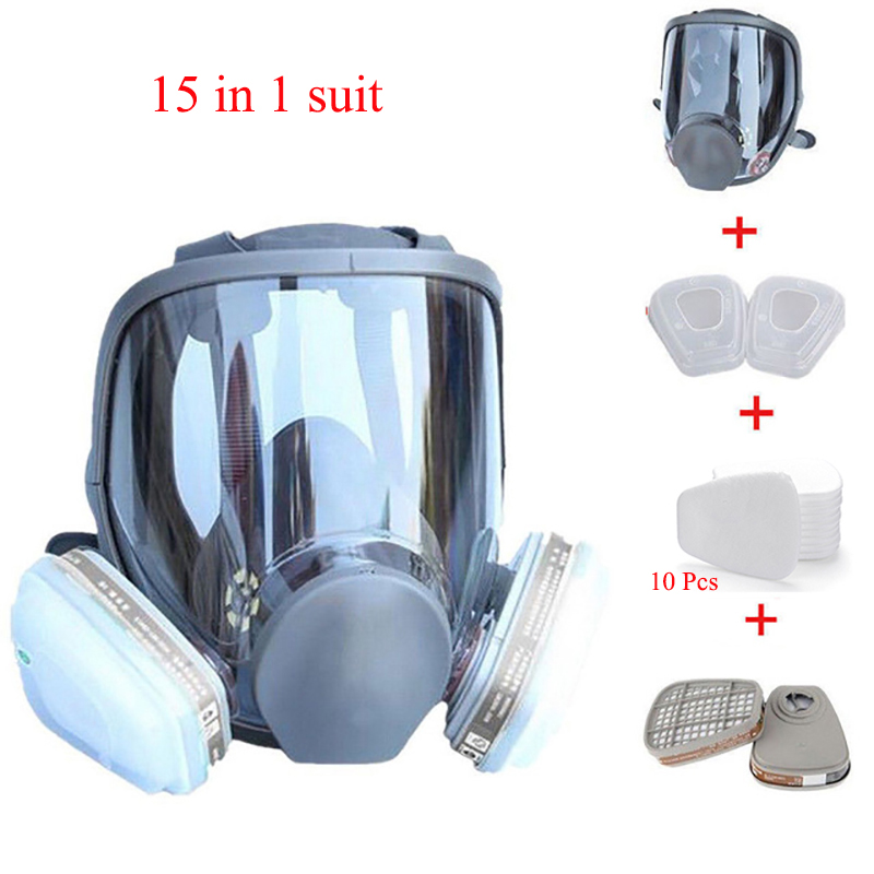15 In 1 Suit Full Facepiece Respirator GasPainting Spraying Safety Respirator 6800 Gas Mask For Chemcial Laboratory Industry