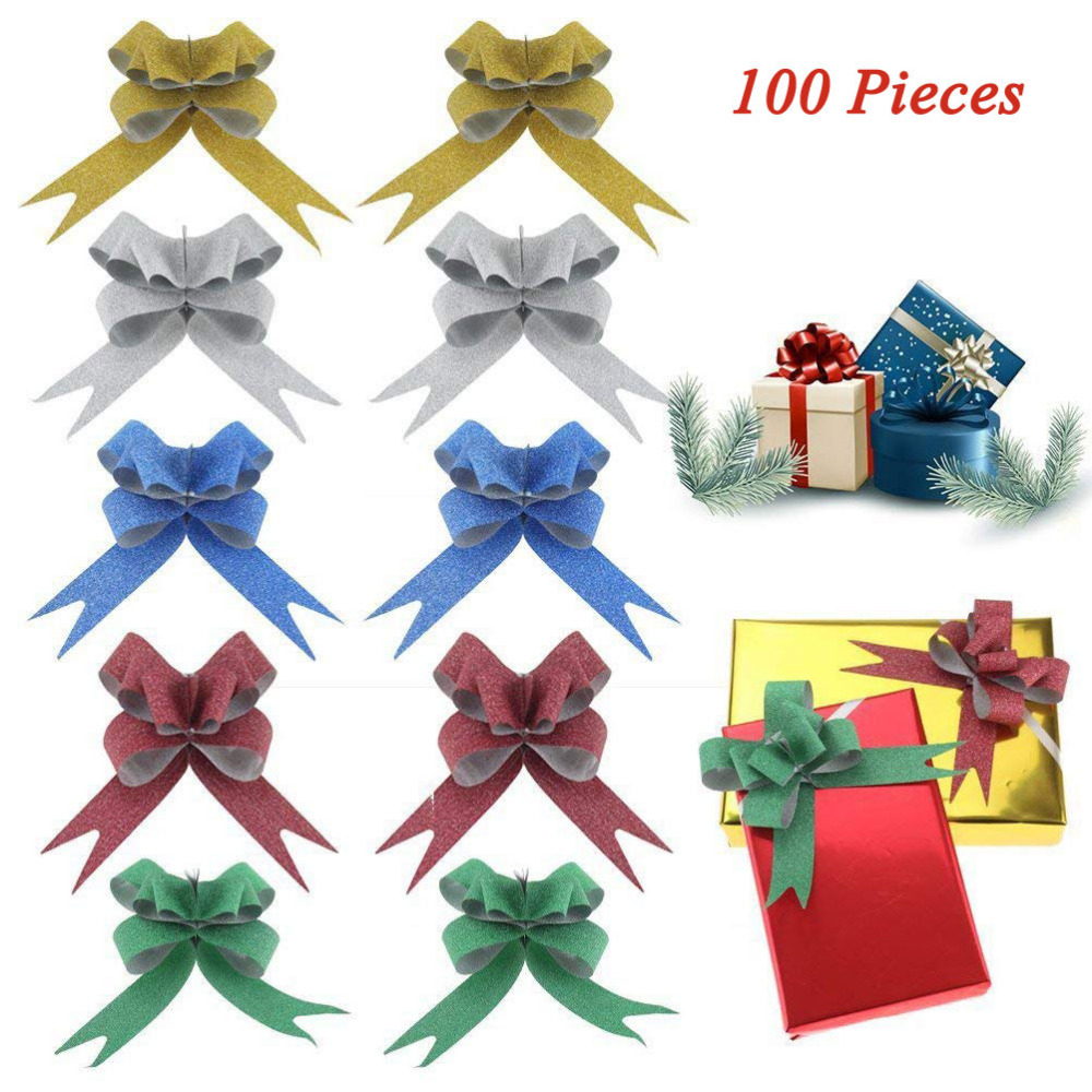 100 PCS 5 Colors Glittering Pull Bows Gift Ribbon For Festival Wedding Easter Decoration Ribbons For Kids Gifts DIY Decoration