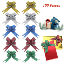 100 PCS 5 Colors Glittering Pull Bows Gift Ribbon for Festival wedding Easter decoration ribbons kids gifts DIY