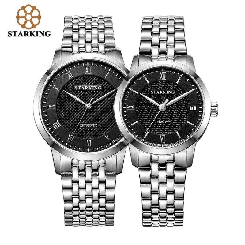 Простые часы StarKing для пар, мужские и женские водонепроницаемые часы длиной 50 м, полностью автоматические часы из нержавеющей стали для влюб