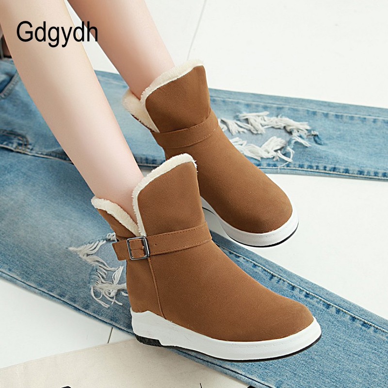 Gdgydh Fashion Buckle Ladies Cotton Shoes Flock Warm Winter Snow Boots Women Wedges Outerwear Female Round Toe Big Size 43 gdgydh 2018 fashion new winter shoes platform warm fur snow boots women lacing round toe shoe female wedges ankle boots female