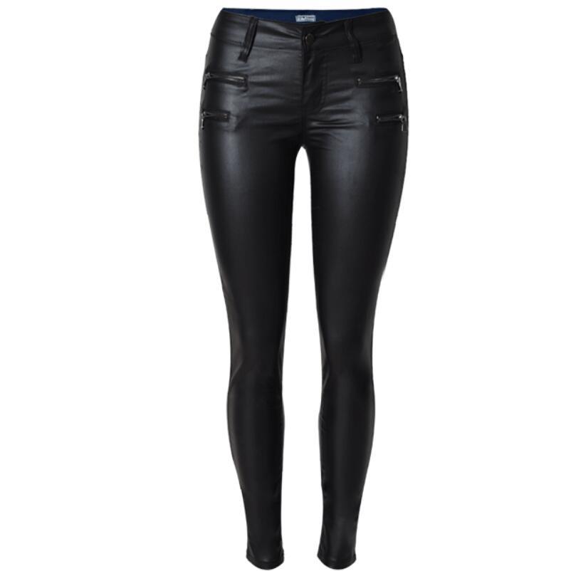 2018 Autumn Women PU Leather Pants double Zipper High Waist Black Stretch Pencil skinny pu pants plus size 3XL