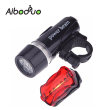 Bicycle Front Head light+Tail light Set 5 Led Waterproof Road MTB Mountain Bike Rear Light Cycling Flashlight