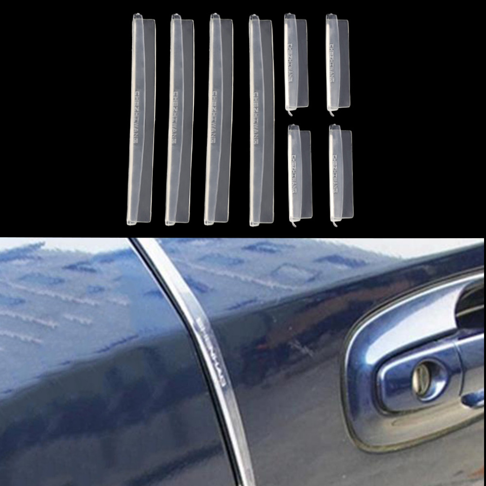 8pcs/set Car SUV Side Door Edge Protector Protective Strip Scrape Guard Bumper Guards Handle Cover Black White Transparent ...