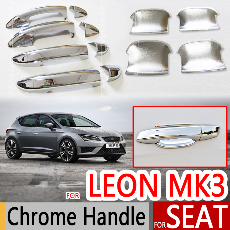 for seat leon mk3 2013 2017 5f chrome door handles covers car accessories stickers car styling. Black Bedroom Furniture Sets. Home Design Ideas