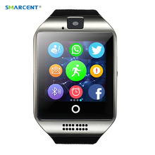 SMARCENT Q18 Smart Watch Real Pedometer Anti-lost Smartwatch Support SIM Card Phone with Camera for IOS Android PK DZ09 GT08
