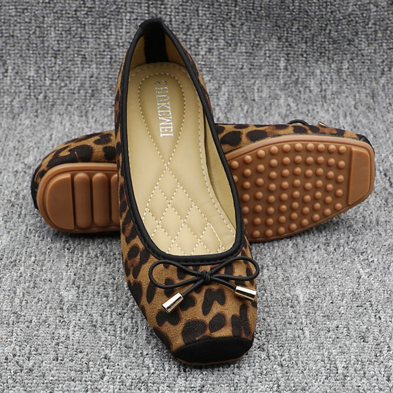 Leopard Ballet Flats with Bow 2019 Spring Autumn Women Slip on Loafers Ladies Fordable Ballerina Flats Comfy Casual Flat Shoes