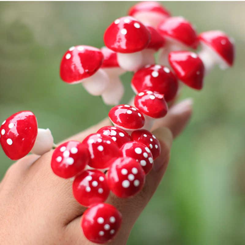 2016 New Hot Fashion 10 Pcs DIY Mini Merah Jamur untuk Mini Tanaman Pot Fairy Dekorasi Taman Rumah Boneka